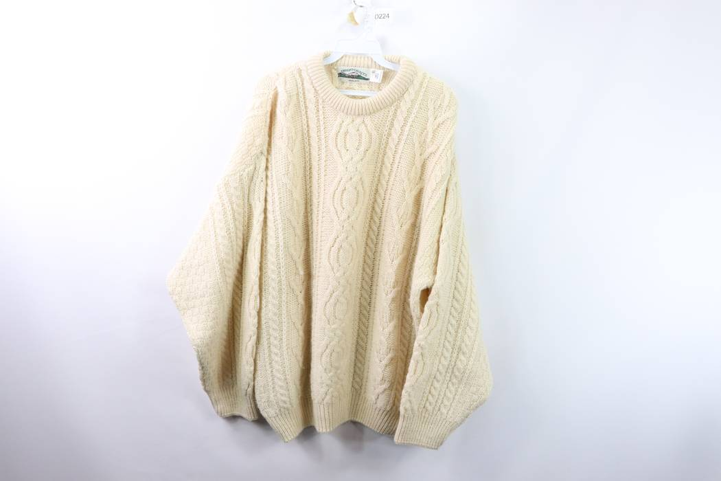 e308d7ca1209dc Vintage Vintage 80s Aran Crafts Mens XL Irish Wool Fisherman Cable Knit  Sweater Cream Size US