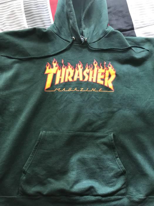 9cafbdc1534 Thrasher Thrasher Flame Logo Forest Green Hoodie Size US L   EU 52-54