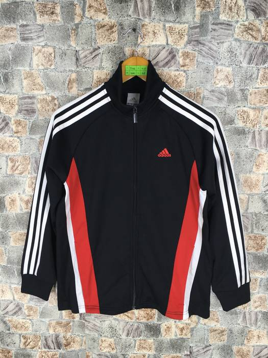 342107c1725 Adidas ADIDAS Track Top Black Red Jacket Women Medium Vintage 90 s Adidas  Three Stripes Sportswear