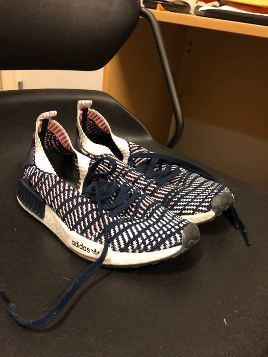 86ced7899f8 Adidas NMD R1 STLT Primeknit (Navy White Red) Size 8 - Low-Top ...