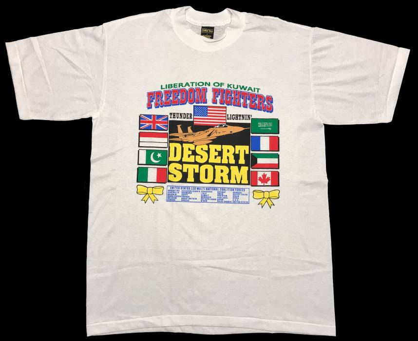 e6278886a57 Vintage. 1991 Desert Storm Liberation of Kuwait Jet   Flags Graphic Print  Shirt