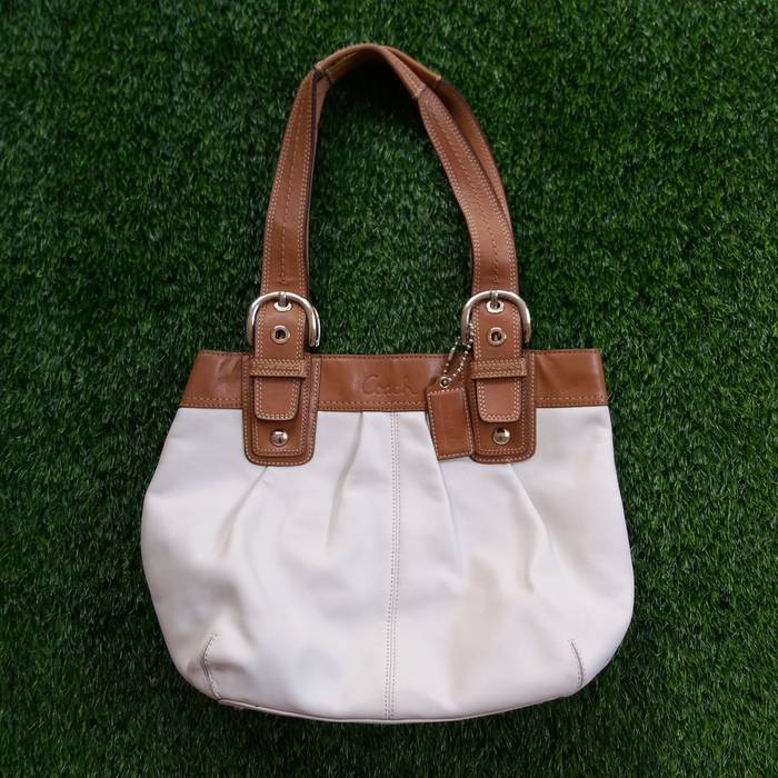 0c910483b7 Coach. Authentic Coach Genuine Leather Brown White Soho Satchel Tote ...