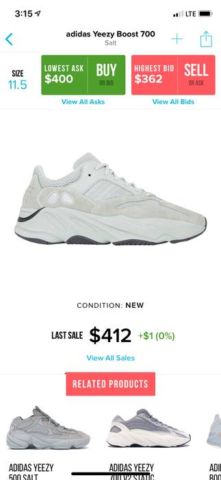 best sneakers 125ec 5c918 Adidas Kanye West Adidas Yeezy boost 700 SIZE 5 Size US 6  EU 39