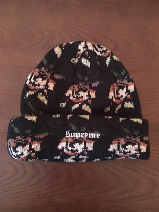 140337c2ec8 Supreme Supreme Rose Jacquard Beanie Black Size one size - Hats for ...