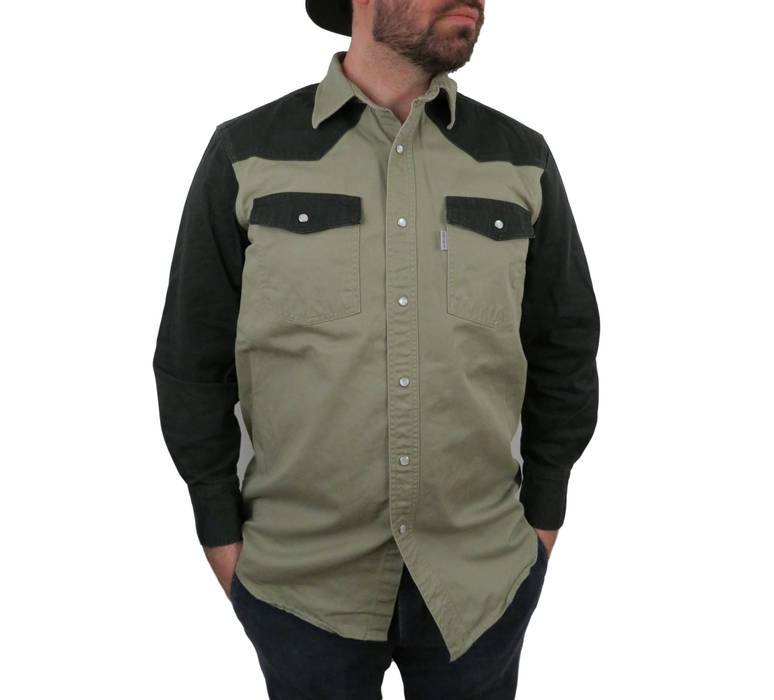 544e97ff3aa Vintage Carhartt Mens Long Sleeve Western Shirt Large Canvas Pearl Snap  Duck Cotton Brown Black Work