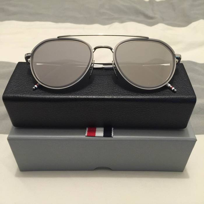 c0d6114307b Thom Browne Silver and Dark Grey Aviator Sunglasses Size one size ...