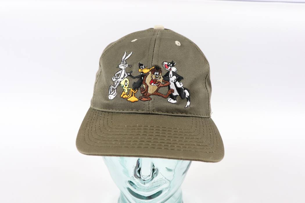Vintage. Vintage 90s Acme Clothing Looney Tunes Adjustable Snapback Hat Cap  Olive Green 5a15f00c38d