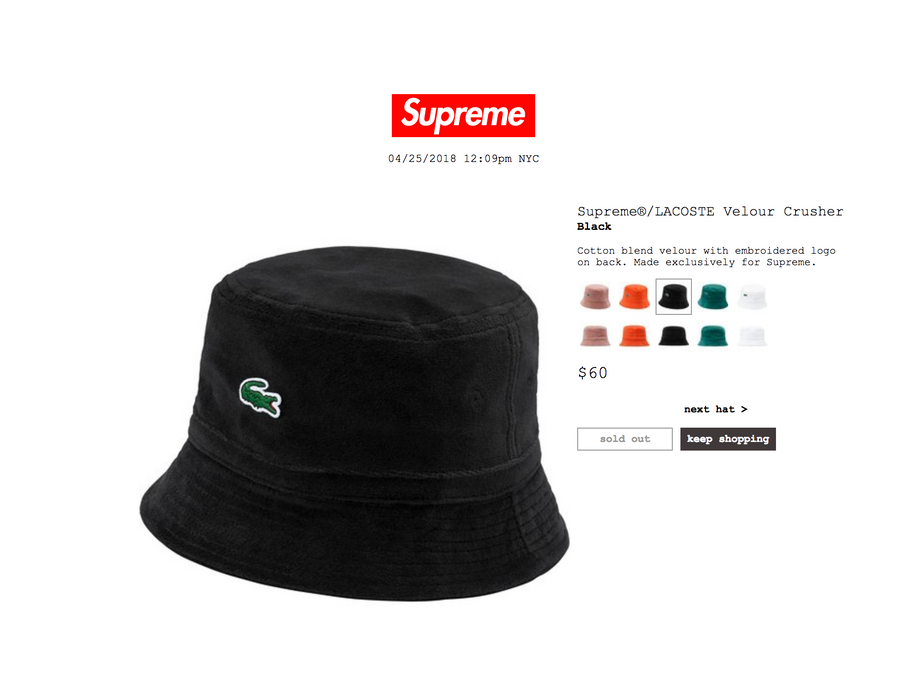 Supreme Supreme   Lacoste Velour Crusher ( Bucket Hat ) Size ONE SIZE 3cb94354fcf6