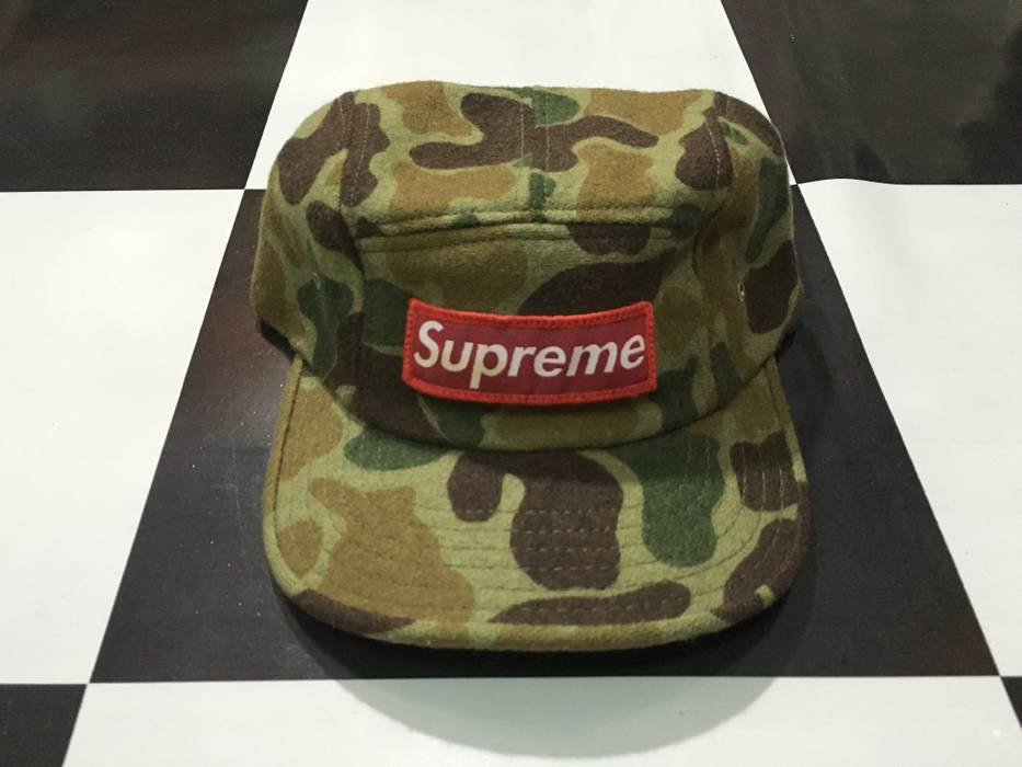 2277fee55fc Supreme Extremely rare Archive 1996 Vintage Supreme duck camo camp cap  Olive green 5 panel hat