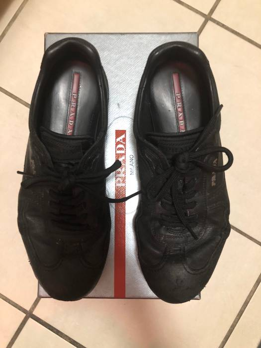 22c6a30181cb Prada Nappa Aviator 6 Nero - Black Goat Skin Leather Prada Sneaker (size  8.5 UK