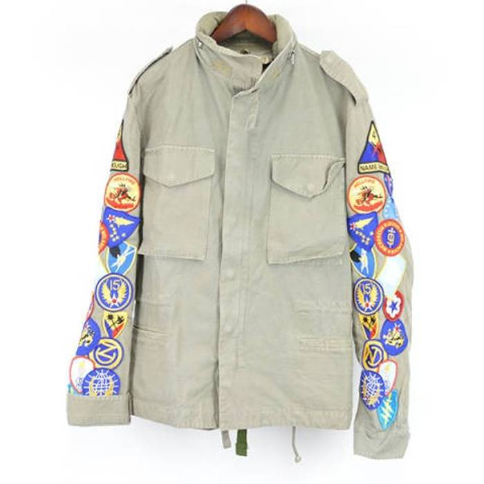 cb7205dad602 Off-White Jacket Khaki patch embroidered military Size US L   EU 52-54