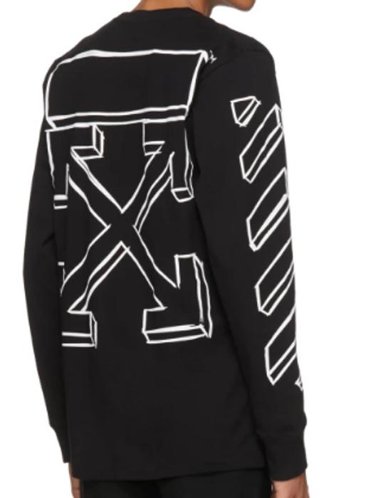 f6b4bfd46432c Off-White. Off-White Black   White Long Sleeve Diagonal Marker Arrows T- Shirt ...