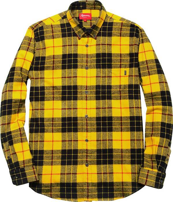 c5a14605455 Supreme Tartan Plaid Yellow Flannel Shirt Size l - Shirts (Button ...