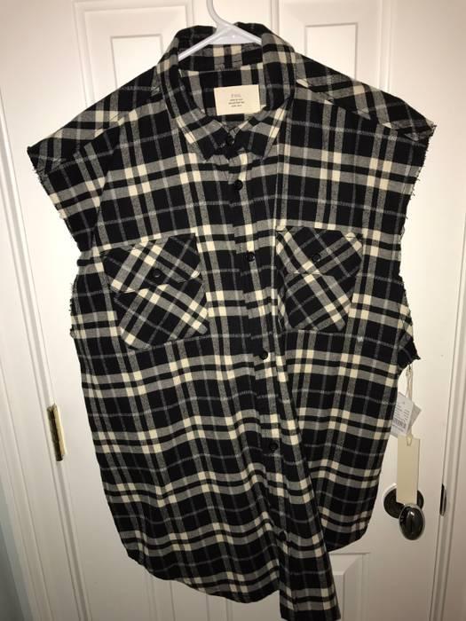 202961a7cb4d Pacsun Black White Plaid Flannel Cutoff Button Down Shirt Size US M   EU 48