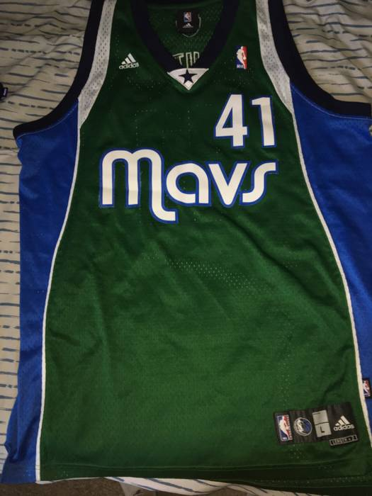 ddfab23f233 ... sale adidas rare dallas mavericks green alternate dirk nowitzki jersey  size us l eu 52 d6704