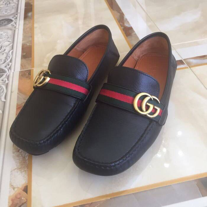 47fbc6045e7 Gucci Leather Loafers with GG Web Size 9 - Formal Shoes for Sale ...