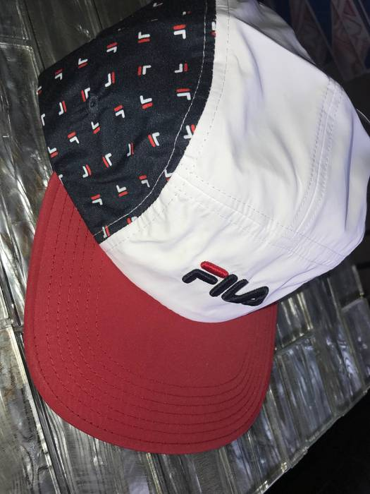 28e154842fc Fila New Navy All Over Five Panel Camp Hat Size one size - Hats for ...
