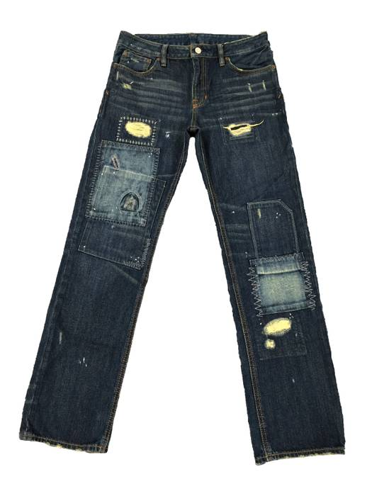 99f3fd58216 Polo Ralph Lauren. Polo Ralph Lauren Distressed Dark Wash Straight Leg Mid  Rise Patchwork Jeans