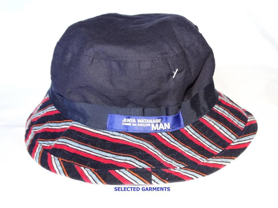 Junya Watanabe Junya Watanabe comme des garçons stripes reversible bucket  hat velour made in Japan blue c83c01907b6