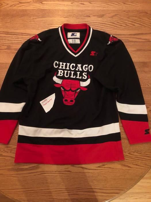 Vintage NBA Bulls Hockey Jersey Size m - Jerseys for Sale - Grailed 86440f9833d