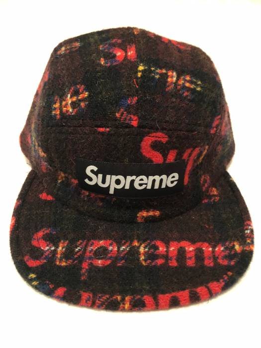 Supreme Supreme Harris Tweed Camp Cap Red Plaid IN HAND READY TO SHIP FW18  Hat Size e013be16893