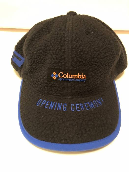 ebd2f0adb4c Opening Ceremony Opening Ceremony x Columbia Fleece Cap Black Blue OC Hat  Drawstring New Size