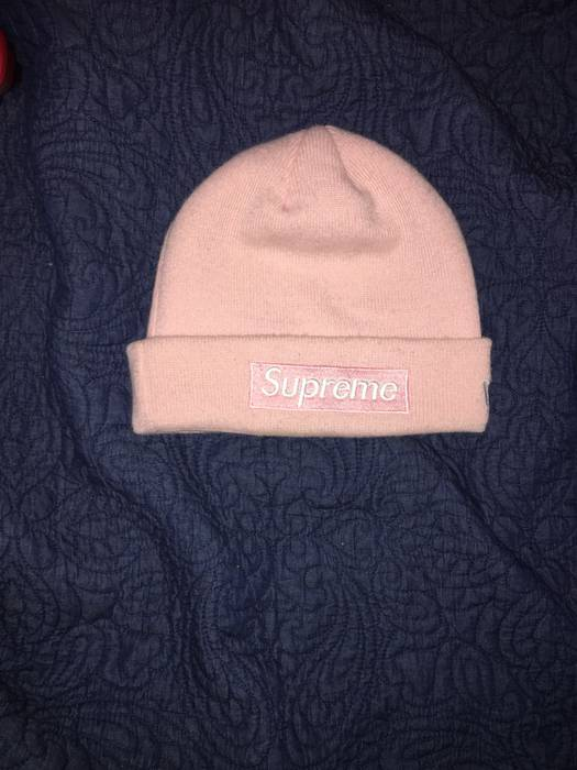 Supreme New Era Box Logo Beanie (FW16) Pink Size one size - Hats for ... 4072ebe84c3
