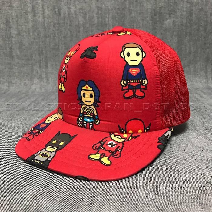 0af0497247b Bape A BATHING APE BAPE BABY X DC COMICS MESH TRUCKER CAP RED Size ...