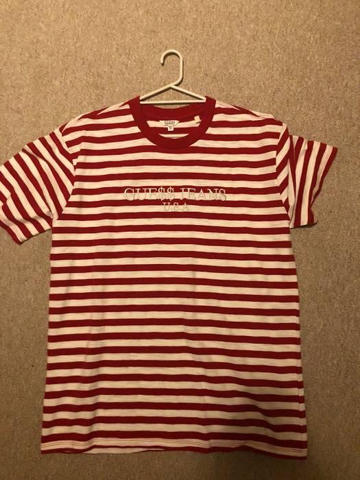 83bb7a4a0343 Ships Immediately ASAP Rocky x GUESS Red striped T-Shirt Size S-XL Shirts &  Hemden