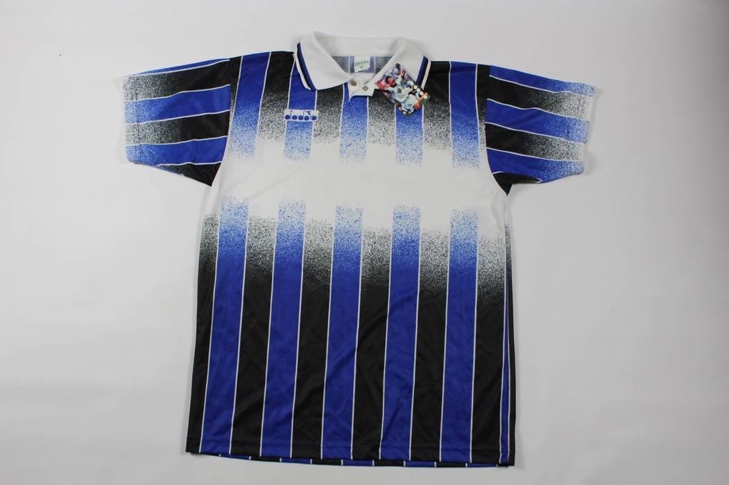 Vintage Vintage 90s New Diadora Mens Large Italia Italy Striped Soccer  Jersey Blue Black Size US b4239f2de