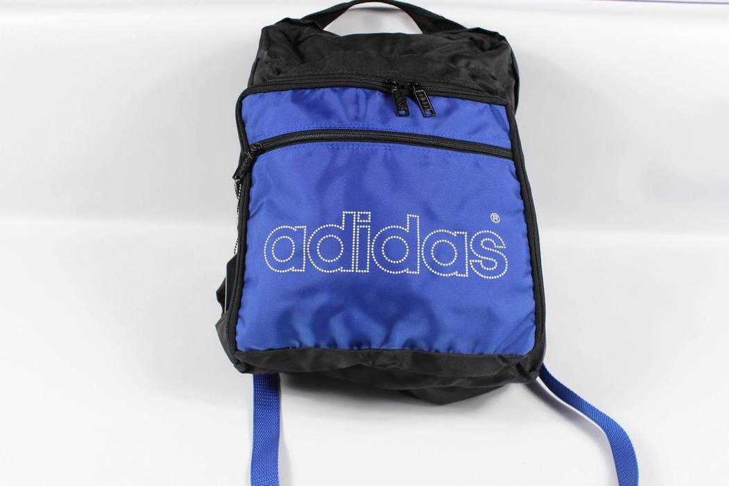 Adidas New Vintage 80s Adidas Spell Out Trefoil Nylon Backpack Book Bag  Black Blue Size ONE 15e71164f4fa2