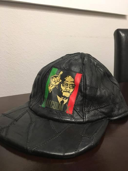 Vintage Vintage 90s MALCOLM X black leather patchwork snapback hat cap Size  ONE SIZE 0b4d2cbd519