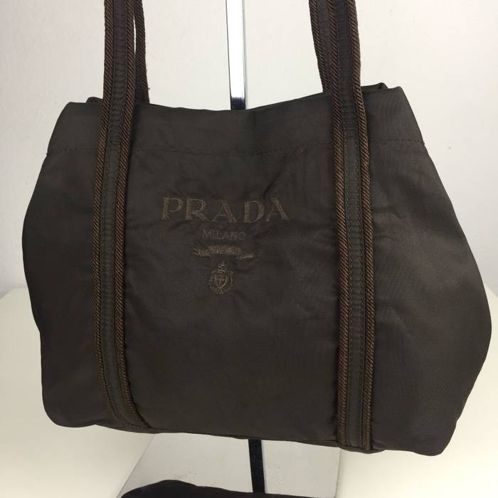 ad5947677eac Prada ‼️FINAL DROP BEFORE DELETE‼️Authentic PRADA Dark Brown Nylon  Embroidered Big Logos Small