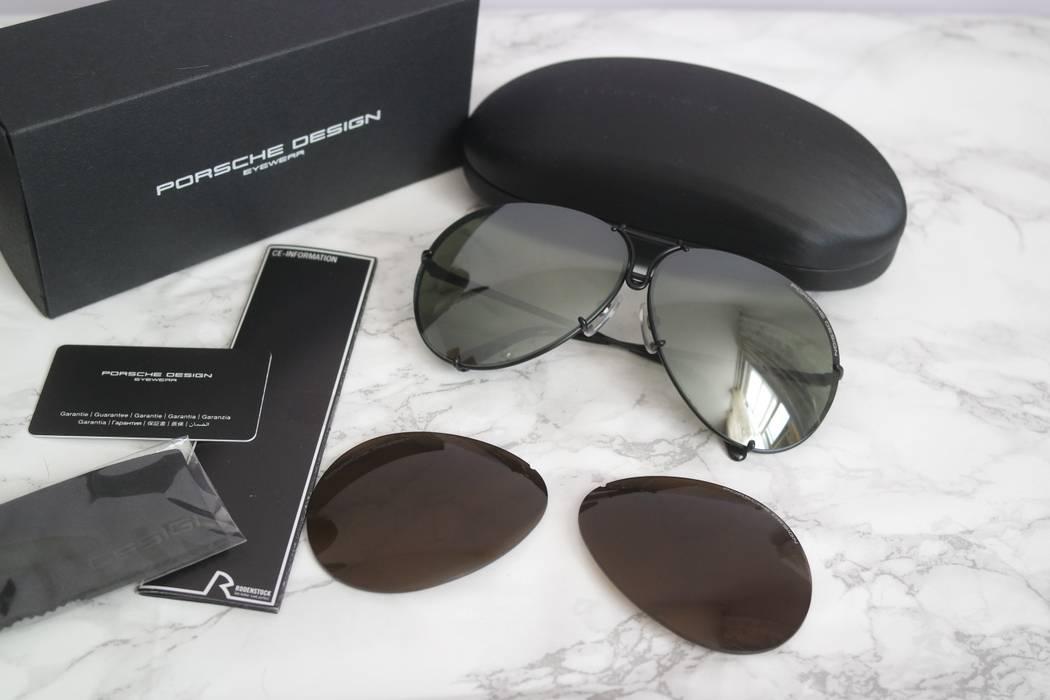 8e69abdbcb Porsche Design NEW Porsche 8478 Classic 69mm Oversized Black Metal  Interchangeable Lens Aviator Sunglasses Size ONE