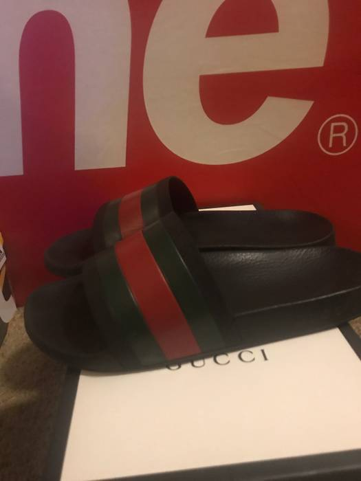 55cc44caea020e Gucci Gucci Slide Sandals Stripe Green Red Black Size US 10   EU 43 - 1
