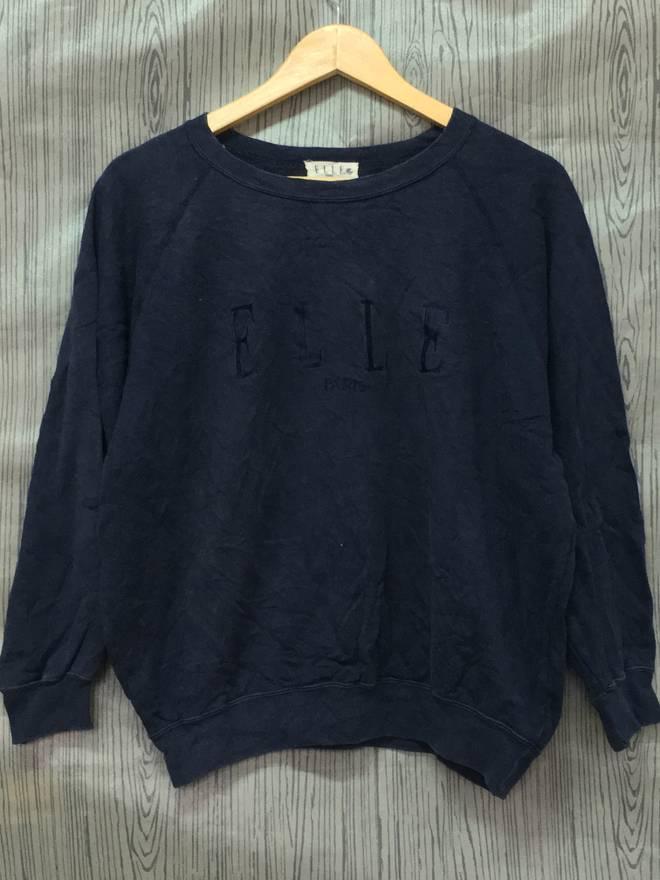 On Sale Vintage ELLE Paris Sweatshirt Longsleeve Medium Size Big Logo N9Hc4Bzyb