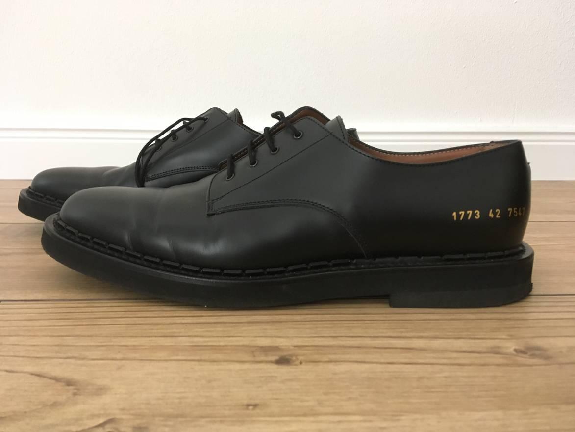 COMMON PROJECTS Polished-leather Derby Shoes - Black Meilleur Prix Prix Pas Cher A9OM4HYFu