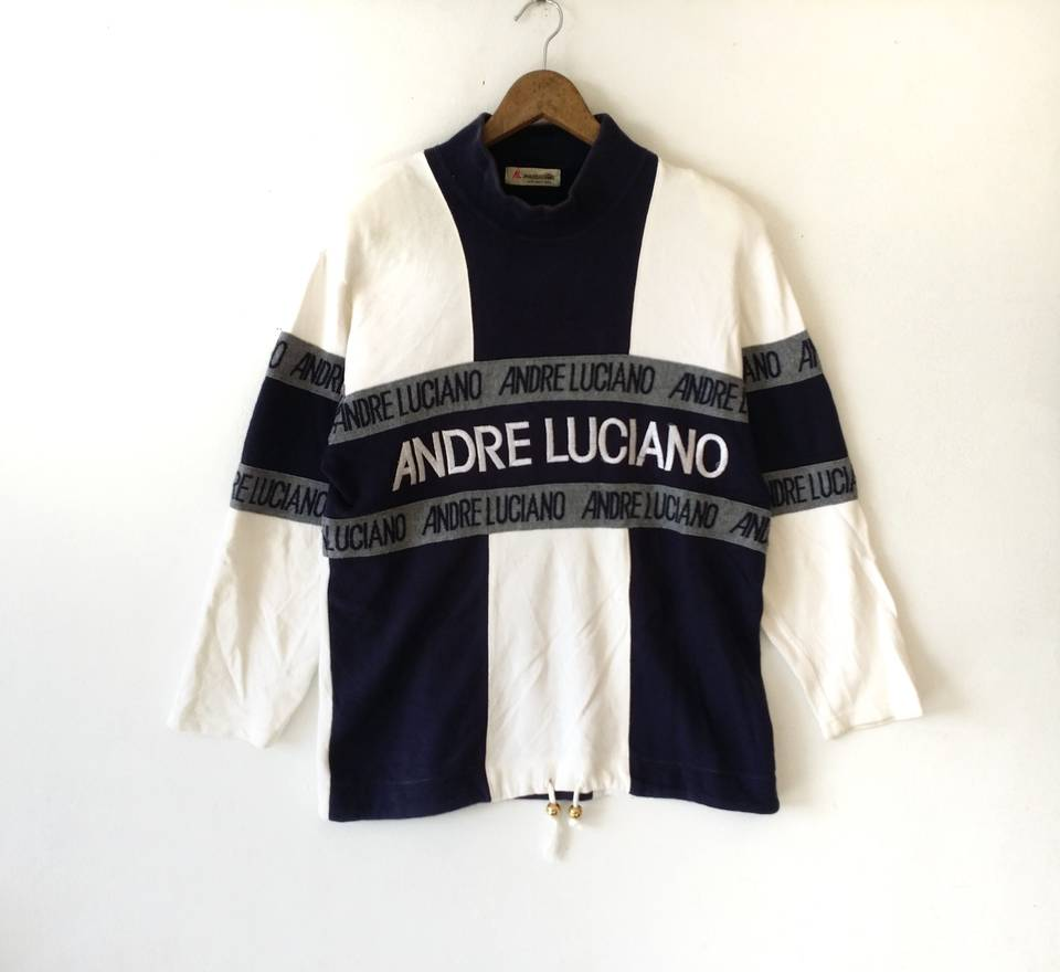 Rare!!ANDRE LUCIANO Embroidery Big Logo Spell Out Andre Luciano Fashion Retro Sweatshirt Colour Block Andre Luciano Clothing Size Large K4zLI6DP