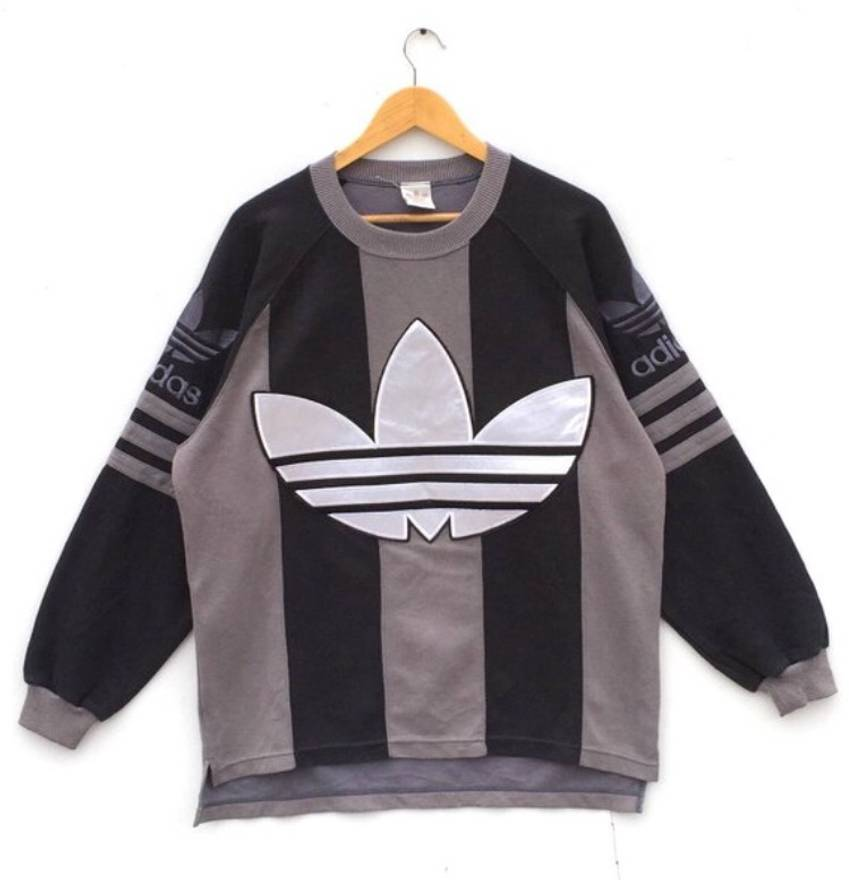 Adidas Trefoil big logo sweatshirt stripes black brown hiphop Swagger sweatshirt hoodie jumper pullover casual streetwear vintage 90s size L o7Zeo