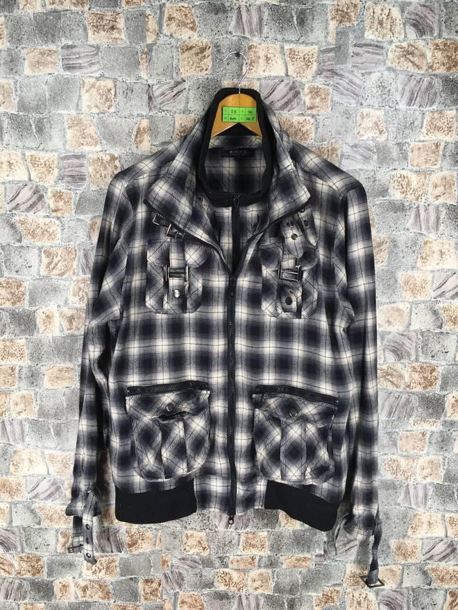 Checkered Cargo Jacket Large Punk Style Bondage Japanese Style Rock n Roll Plaid Shadow Coat Jacket Slim Fit Size L OwLAtrV