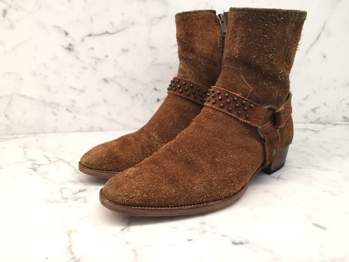 Saint Laurent Wyatt 40 Harness Suede Boots