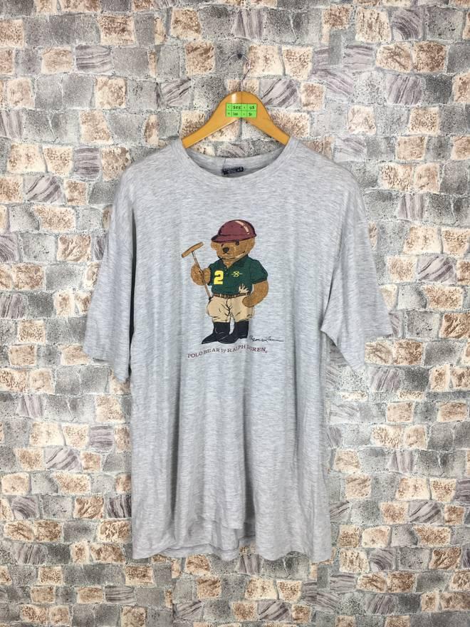 POLO BEAR T shirt Large Polo Ralph Lauren Vintage 90s Polo Sport Usa Bear Play Golf Hip Hop Sportswear Bear Gray Tee Tshirt Size L 6O4ag