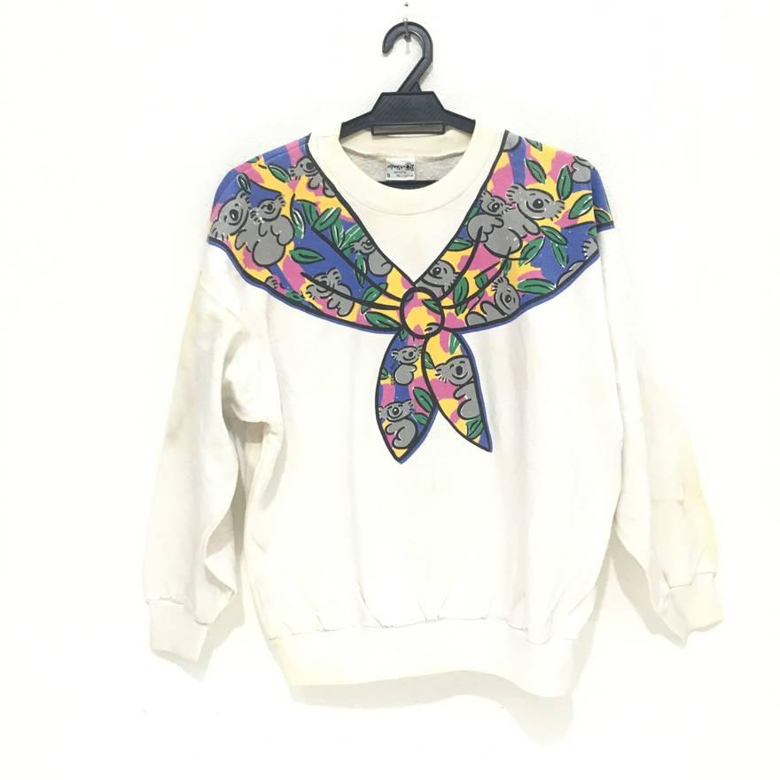 Rare! Vintage KEN DONE Australian Designer Pop Art Under Down Australia Crew Neck Pullover Sweatshirt White Colour Xs9t4