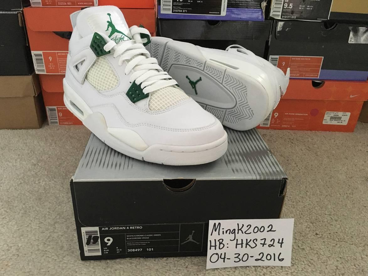 the latest 17baf 078f9 ... 308497 101 c47f7 49fea  best price jordan brand 2004 nike air jordan iv 4  retro white chrome classic green ds
