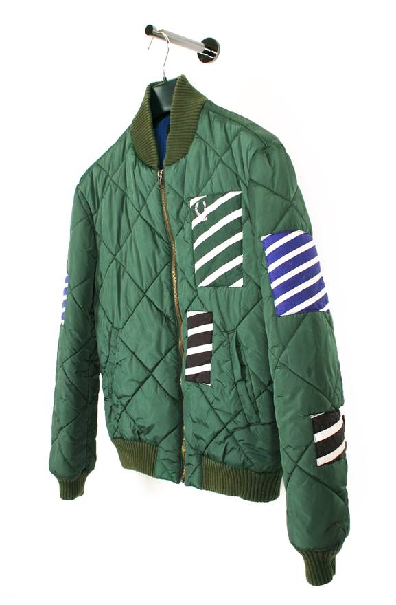 Raf Simons Original Raf Simons Fred Perry Green Men Quilted Bomber