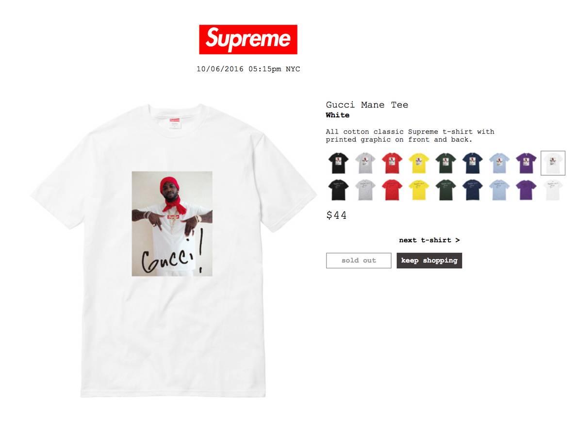 supreme supreme x gucci mane tee white size xl short sleeve t