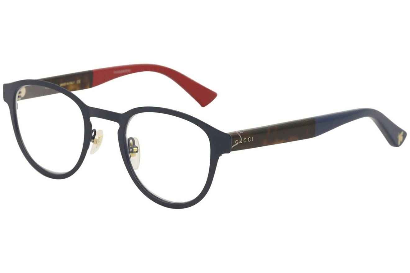 Gucci NEW Gucci GG0161O Navy Blue Metal Round Eyeglasses Frames Size ...