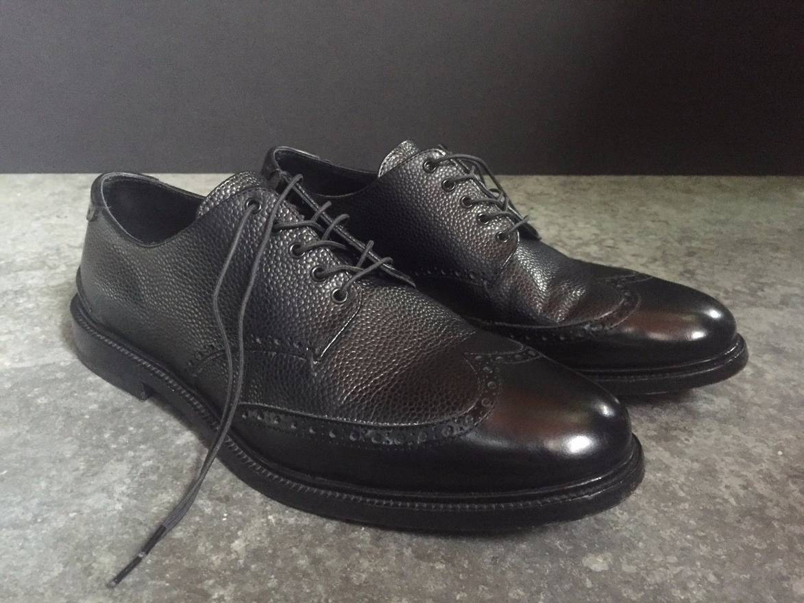 RAG & BONE BLACK LEATHER WINGTIP BROGUE DERBY MENS SHOES SZ. 9 42