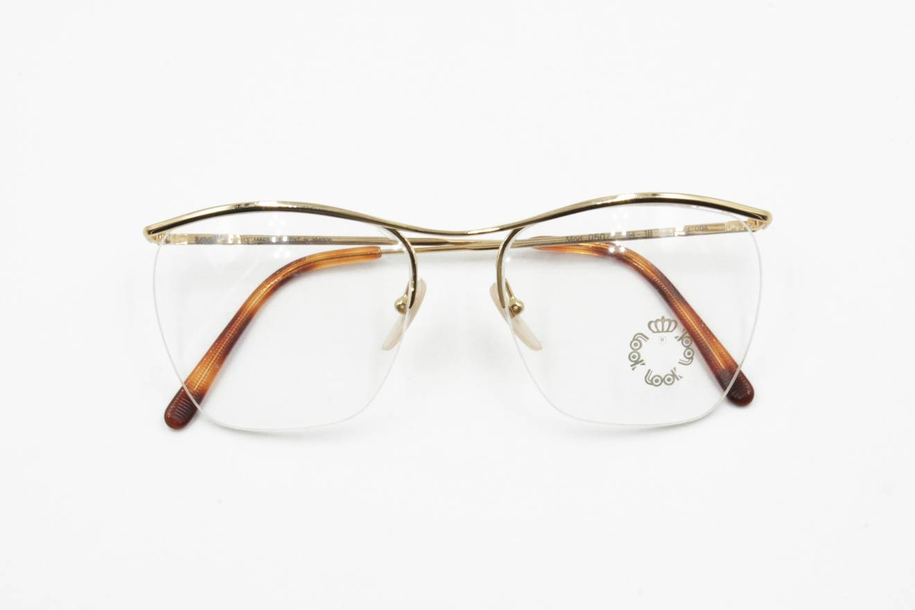 Vintage Look 050/1 half rimmed golden frame trapezoidal lenses ...