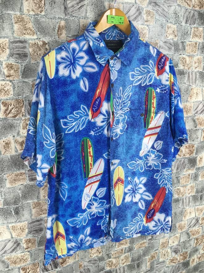 Vintage 80's Hawaiian Usa Silk Shirt Men Large Vintage 80's Hawaii Surfboard Floral Surfing Aloha Beach Surfer Sailing Rayon Shirt Size L
